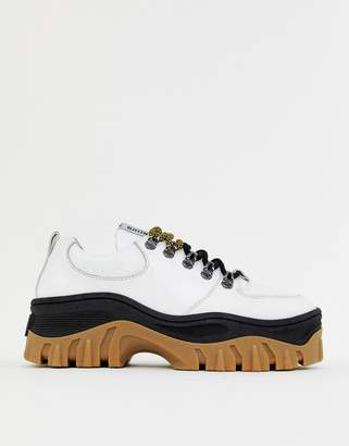 Bronx white leather chunky sole sneakers