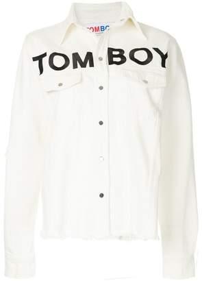 Filles a papa logo print denim jacket