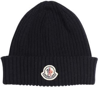 Moncler Logo Wool Rib Knit Beanie Hat