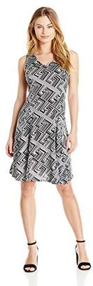 Notations Women's Petite Size Sleeveless Printed V Neck Dress With Godets
