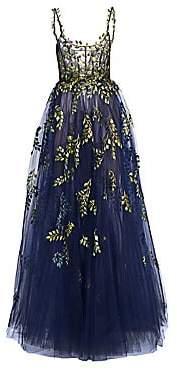 Oscar de la Renta Women's Floral Embroidery Tulle Gown