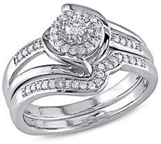 Concerto 0.25 TCW Diamond Halo Twist Split Shank Bridal Ring Set in Sterling Silver