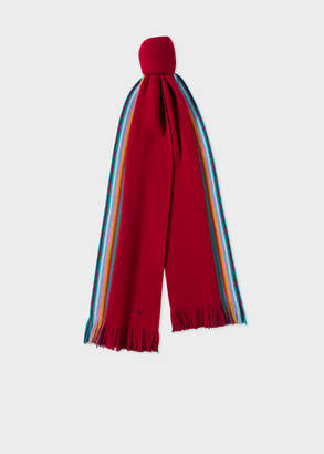 Paul Smith Men's Double-Face Red Striped-Edge Wool Scarf