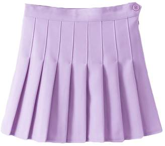 IBTOM CASTLE Women High Waist Cheerleader Pleated Mini Tennis Short Skater Flared Skirt M