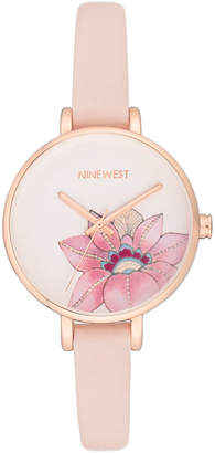 Nine West Women's Pink Faux Leather Strap Watch 34.5mm