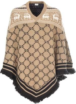Gucci wool and silk jacquard Poncho