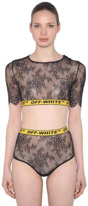 Off-White Off White Logo Band Lace Top & Briefs