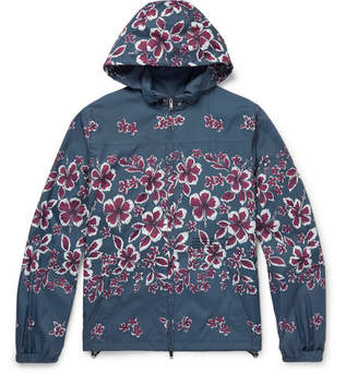 Valentino Slim-Fit Hibiscus-Print Shell Hooded Jacket