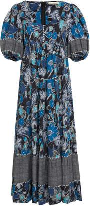Ulla Johnson Nora Printed Cotton-Blend Midi Dress Size: 2