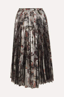 Markus Lupfer Hailey Pleated Printed Silk-blend Lamé Midi Skirt - Silver