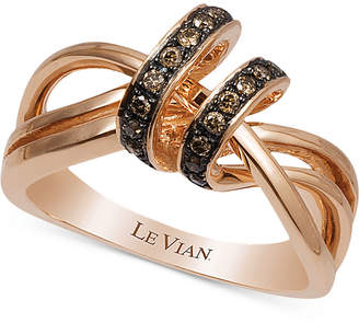 LeVian Le Vian Chocolatier Diamond Statement Ring (1/5 ct. t.w.) in 14k Rose Gold