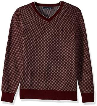 Nautica Men's Long Sleeve Jacquard V-Neck Sweater with Tipping