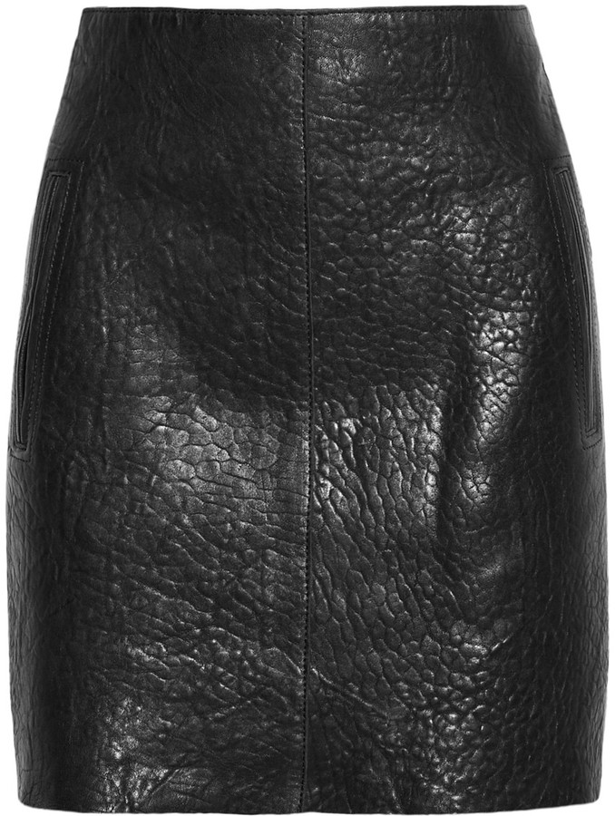 Carven Textured-leather mini skirt