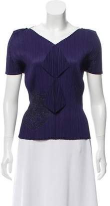 Pleats Please Issey Miyake V-Neck Plissé Top