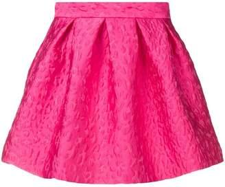 P.A.R.O.S.H. leopard cloqué pleated skirt