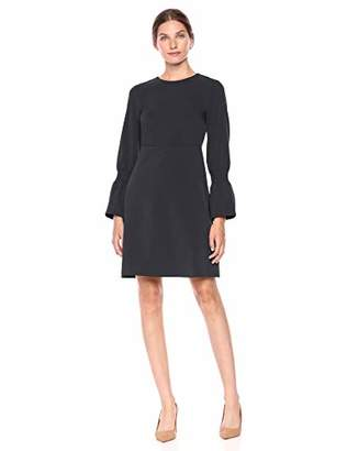 Lark & Ro Amazon Brand Women's Stretch Twill Gathered Sleeve Crew Neck Dress