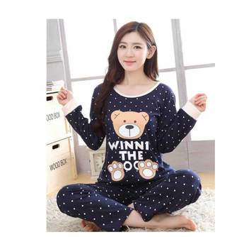 Anghuluqub Womens Pajamas Sets 2018 Summer Round Neck Cartoon Kawaii Totoro Cartoon Sleepwear Nighty Female Casual Autumn Winter Pajamas XXL