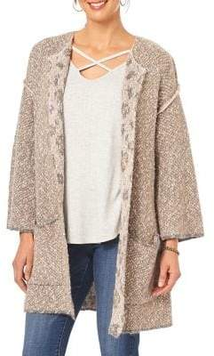 Democracy Leopard Print Tweed Open-Front Cardigan