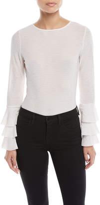 Glamorous Tiered-Sleeve Striped Bodysuit