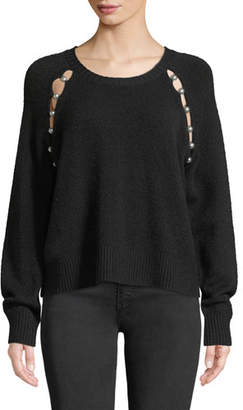 Alice + Olivia Jolynn Crewneck Raglan-Slit Wool Pullover Sweater