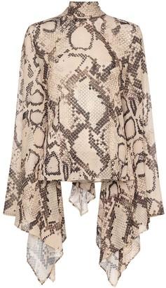 SOLACE London Ali snakeskin-print blouse
