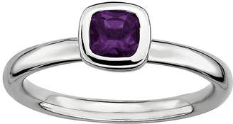 JCPenney FINE JEWELRY Personally Stackable Cushion-Cut Genuine Amethyst Sterling Silver Ring