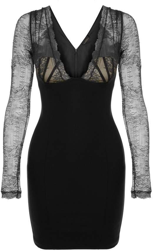 La Perla La Perla Cocktail Looks Black Short Wool Leavers Lace Dress With BuiltIn Bra