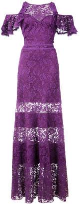 Tadashi Shoji cold-shoulder lace gown
