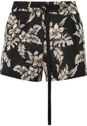 Moncler Floral-print Silk-georgette Shorts - Black