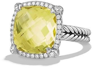 David Yurman Ch'telaine Pavé Bezel Ring with Lemon Citrine and Diamonds