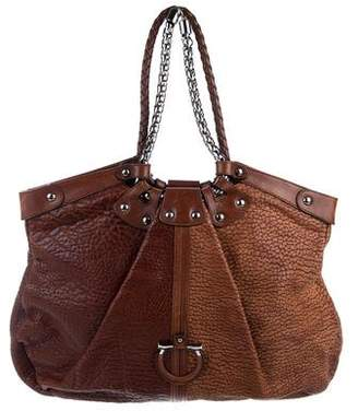 Salvatore Ferragamo Leather Gancino Hobo