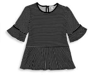 Monteau Girl's Striped Bell-Sleeve Top