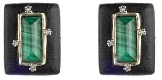Alexis Bittar Stone Studded Retro Button Clip Earring