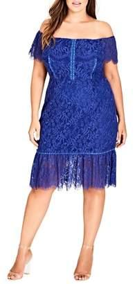 City Chic Devotion Off the Shoulder Lace Dress