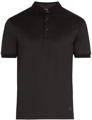 Giorgio Armani Fixed Collar Cotton Polo Shirt - Mens - Black