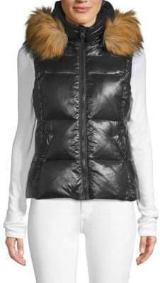 S13/Nyc Faux-Fur Trim Down Puffer Vest