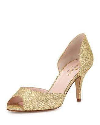 Kate Spade Sage Glitter Peep-Toe Pump, Gold