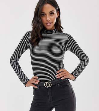 PrettyLittleThing basic high neck stripe top