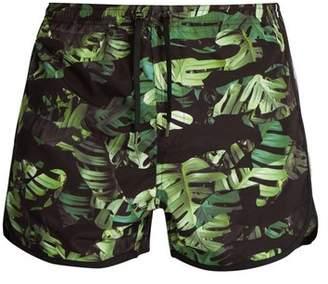 Neil Barrett Camouflage Palm Leaf Print Swim Shorts - Mens - Green