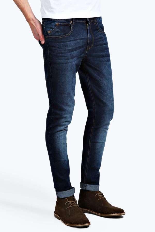 Dark Washed Indigo Stretch Skinny Fit Jeans
