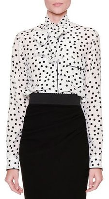 Dolce & Gabbana Tie-Neck Polka-Dot Blouse, White/Black $1,395 thestylecure.com