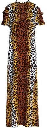 Love Moschino Ruffled Leopard-Print Crepe Midi Dress