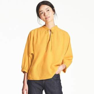 Uniqlo WOMEN Linen Blended Gathered 3/4 Sleeve Blouse