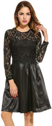 Meaneor Women's Elegant Lace Satin Stitched Keyhole Back Dress(,L)