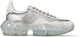 Jimmy Choo DIAMOND/F Silver Metallic Leather and White Calf Leather Low Top Trainers