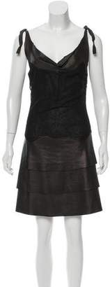 Valentino Leather-Paneled Lace-Accented Dress w/ Tags