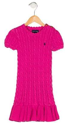 Ralph Lauren Girls' Cable Knit Ruffle Dress