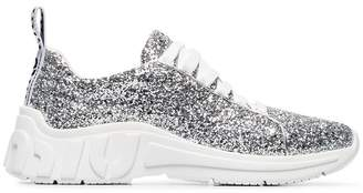 Miu Miu Silver-tone chunky glitter leather sneakers