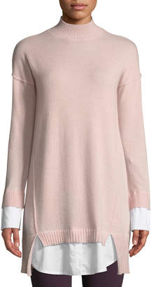 Neiman Marcus Cashmere Long-Sleeve Twofer Dress