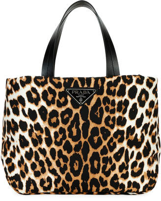 a7a31636e Prada Leopard-Print Nylon Small Tote Bag